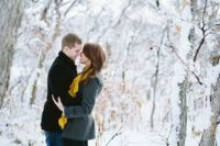 06 a winter forest is a great idea for your engagement shoot, it's magical