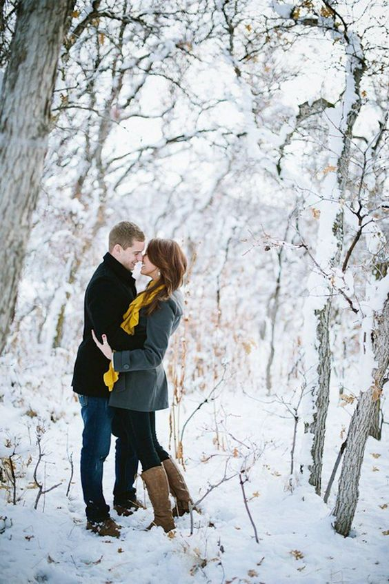 a winter forest is a great idea for your engagement shoot, it's magical