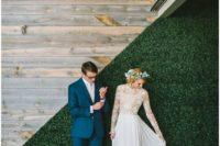 cute scoop neckline wedding gown