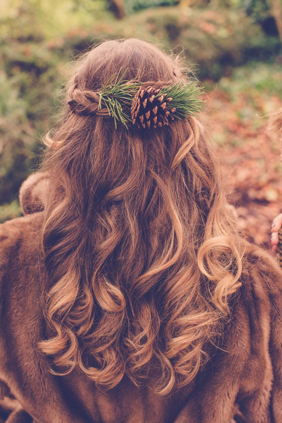 if you are a woodland bride, why not incorporate a pinecone into your hairstyle