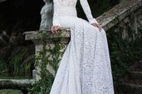 07 long sleeve textural sheath wedding dress with a train looks wow and highlights your curves