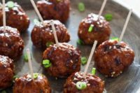 07 meat balls with greenery served on toothpicks is a great idea fo comfort food