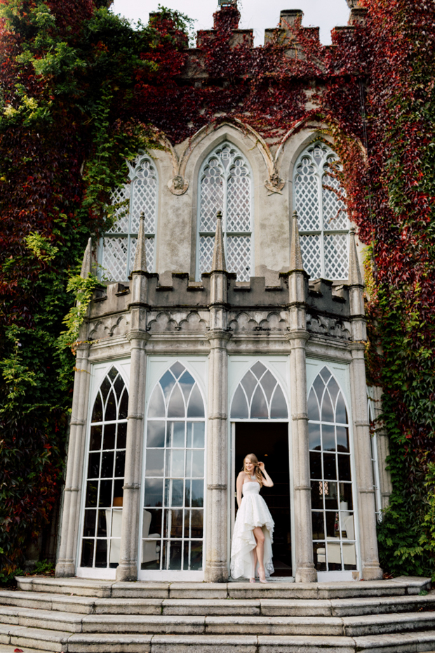 Enjoy the view of the castle in the fall and the stunning bride