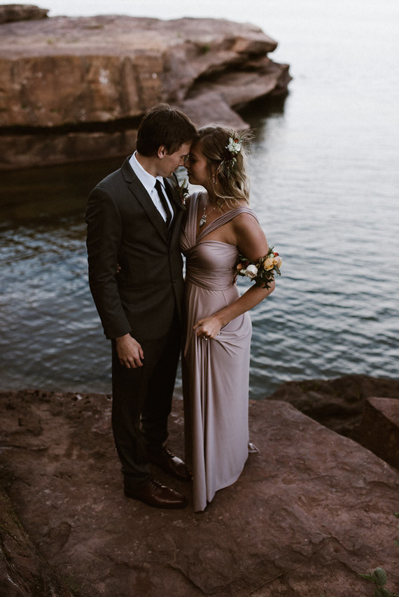 Such a gorgeous and romantic wedding gown in a soft pastel shade
