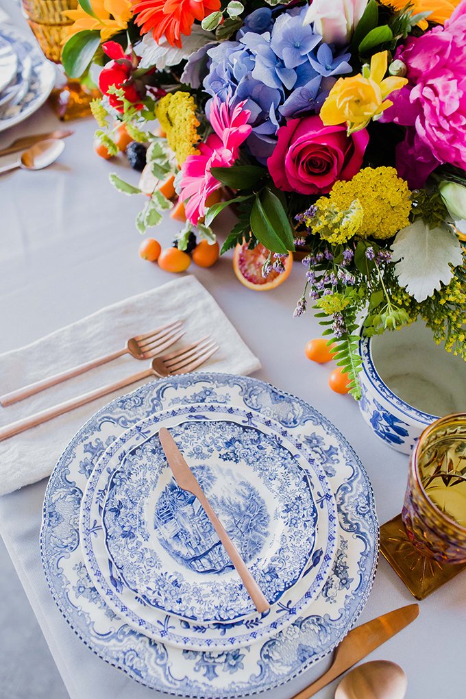 The blue china, copper cutlery, amber glasses added color to the tablescape