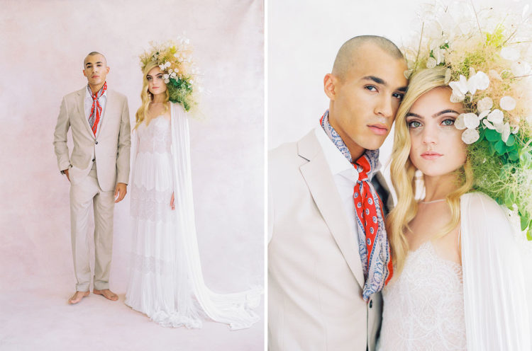 The decond bridal look was done with a boho lace wedding dress and a cape and a neutral suit with a colorful tie