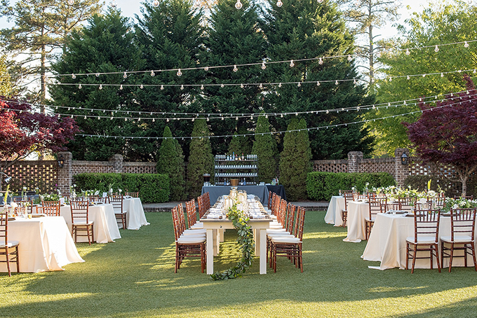 The wedding reception took place in the garden, too, and there were lots of lights
