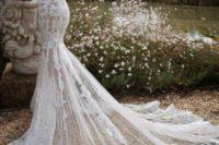 mermaid wedding gown with long sleeves