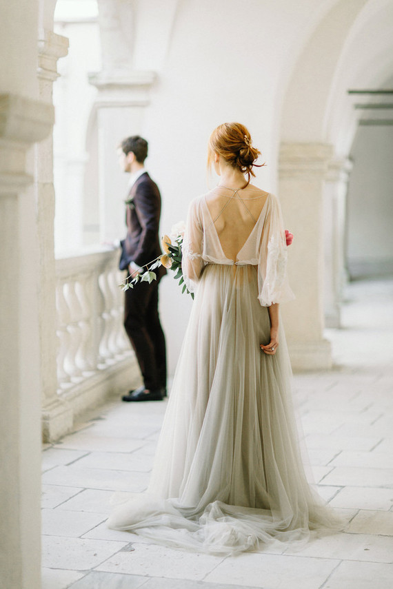 A back necklace highlighted the open back