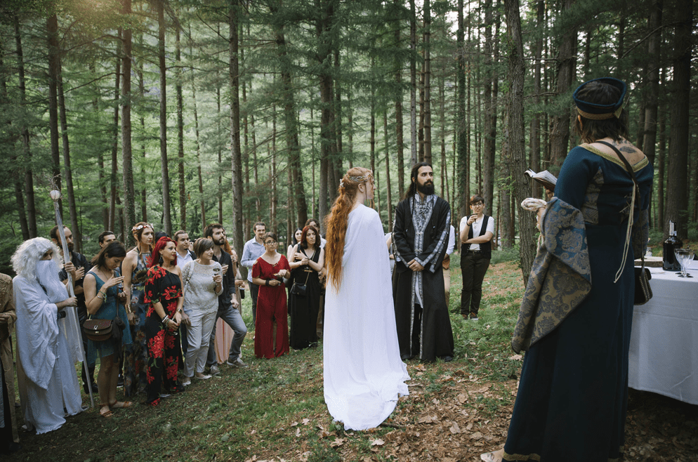 The ceremony was a pagan one, with hand tying