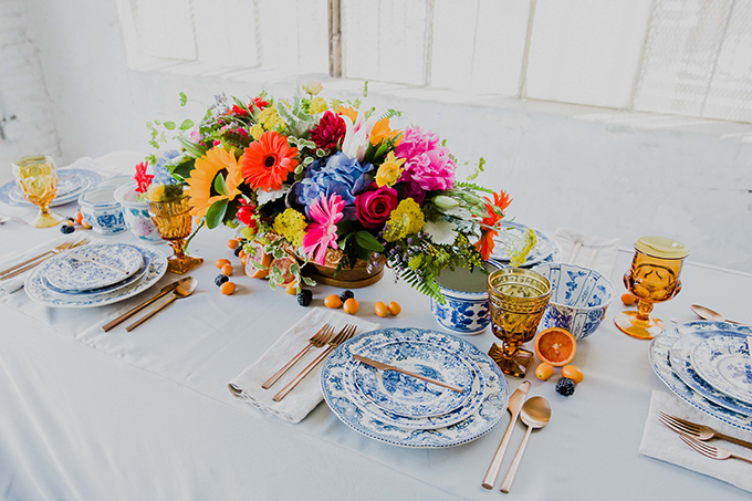 The tablescape was enlivened with apricots and blackberries placed right on the table
