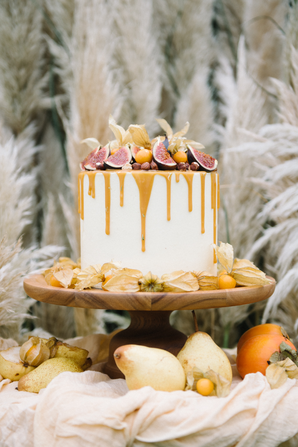 The wedding cake was a salted caramel one with drip icing, fresh figs and berries