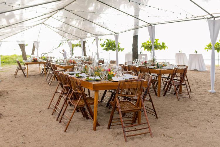 The wedding reception was done with a tent and lots of lights