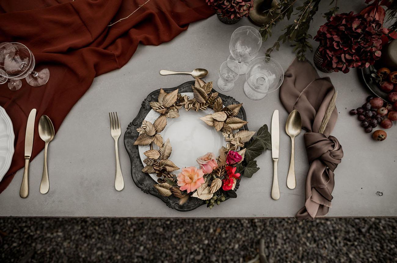 moody wedding tablescape