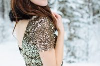 11 a beautiful sequin dress with a faux fur scarf for a chic and girlish look