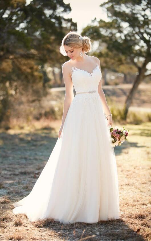 chic A-line sleeveless wedding dress with an illusion neckline, an embellished belt and a plain skirt