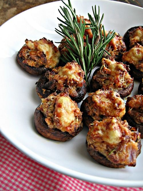 sausage and asiago stuffed mushrooms with balsamic glaze are tasty and nutricious