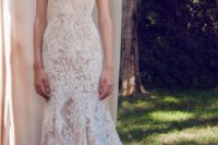 11 strapless sweetheart neckline mermaid wedding dress in blush with white lace