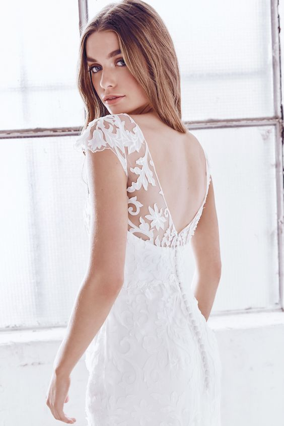 Windsor lace V cut back wedding dress with cap sleeves and a row of buttons