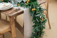 kumquat wedding table decor