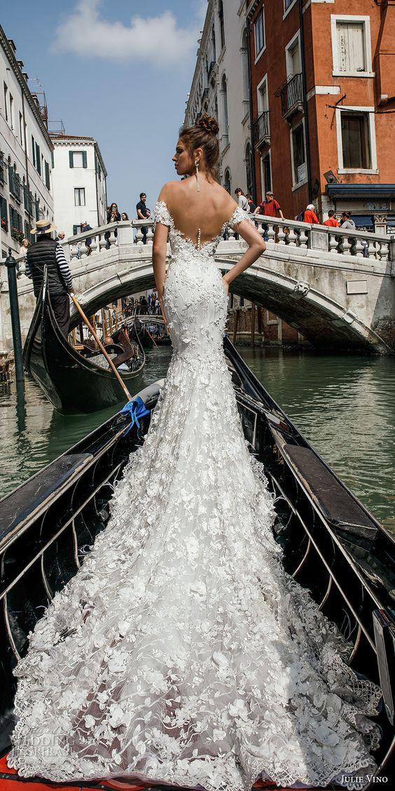 25 breathtaking wedding dresses with a train weddingomania open v back off the shoulder wedding dress with lace appliques and a long train looks junglespirit Image collections