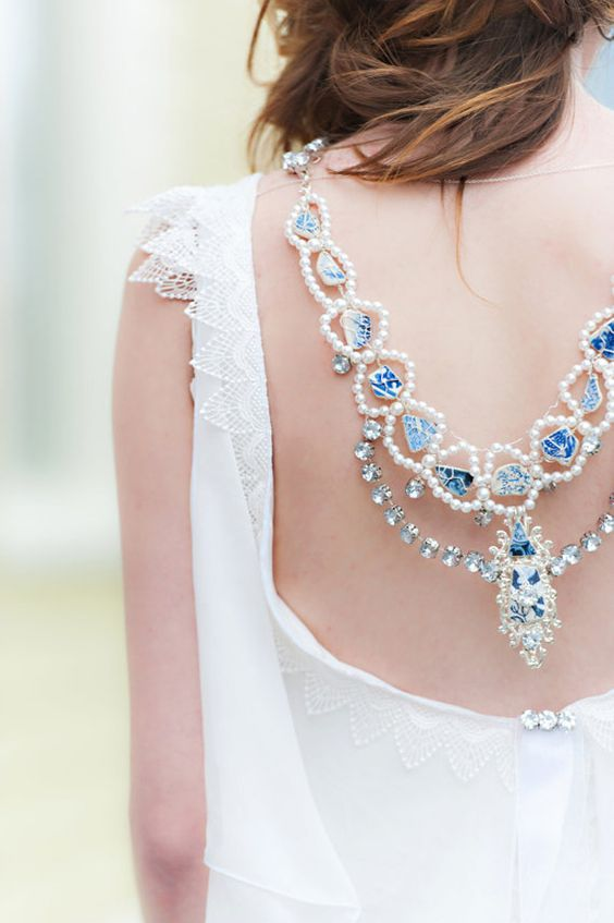 statement back necklace with blue geodes, blue rhinestones and pearls for an open back dress