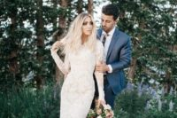 15 a lace applique wedding dress with long sleeves and a high neckline is a chic feminine idea to rock