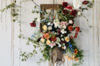 18 a cool vintage frame with lush colroful blooms with greenery will be a nice decoration for spring or summer