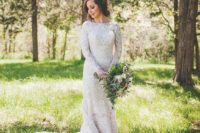 19 high neckline long sleeve wedding dress with a train and lace appliques is a chic and timeless idea