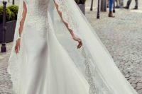 20 a sheath wedding dress with spaghetti straps, a lace bodice, a plain skirt with a train