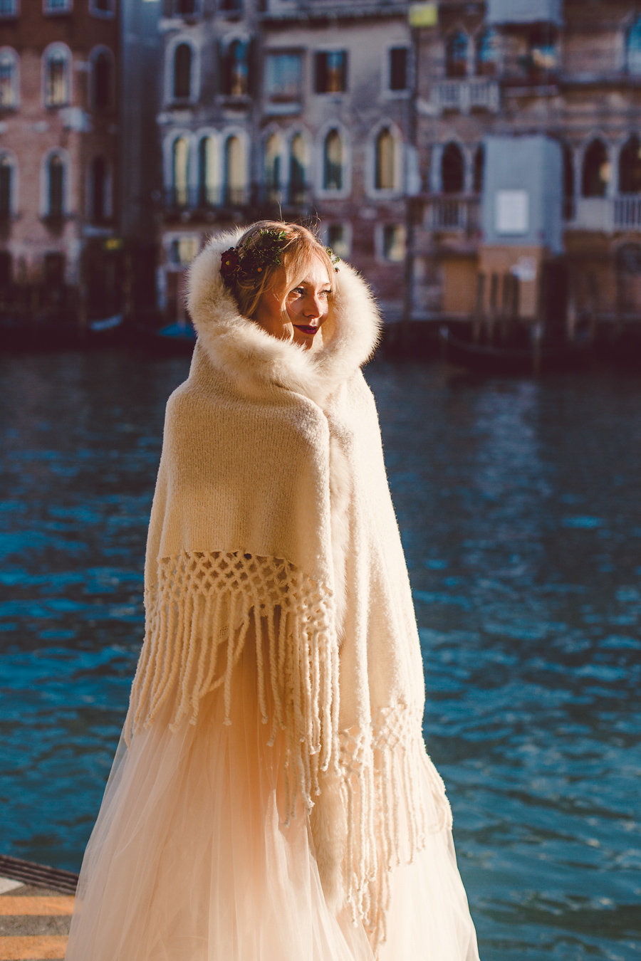 cover up with a warm piece with faux fur as it can be chilly in Venice