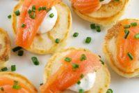 20 cream cheese pancakes with smoked salmon and greenery are a fresh take on salmon bites