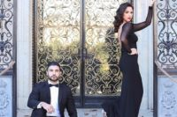 20 if you like formal style, go for a black evening gown with a cutout back and a tuxedo