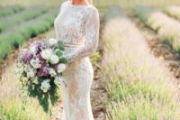 20 long sleeve sheath lace applique wedding dress with a high neckline and a sash to highlight the waist