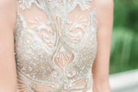 21 a fantastic illusion embroidered and beaded gold bodice is sure to strike everyone