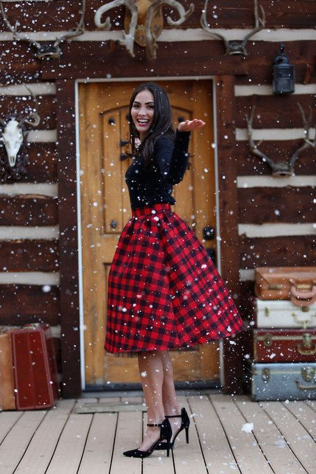 a plaid skirt, black heels and a black top will give you a Christmas-like look