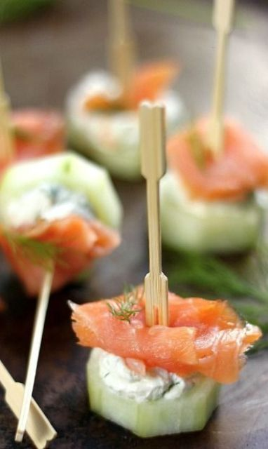 smoked salmon, cucumbers and cream cheese bites are ideal for those who love fish