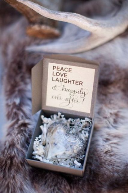 a gorgeous heart-shaped Christmas ornament as a personalized wedding favor