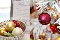 23 Christmas tree wedding guest book with various ornaments – ask your guests to decorate the tree with ornaments and wishes from them