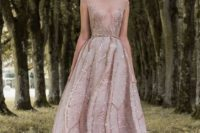 24 a pink cap sleeve wedding dress with an illusion neckline, embroidery and sparkling rhinestones