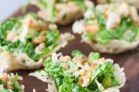 24 mini chopped caesar salad cups are a light and fresh appetizer