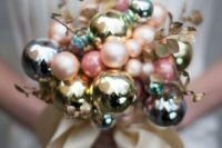 25 a chic shiny pastel Christmas ornament wedidng bouquet with faux foliage looks unusual