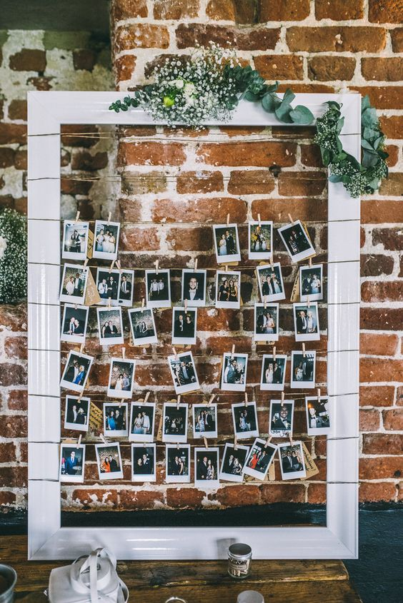 a frame with the couple's photos will be a heart-warming dedcoration for any venue