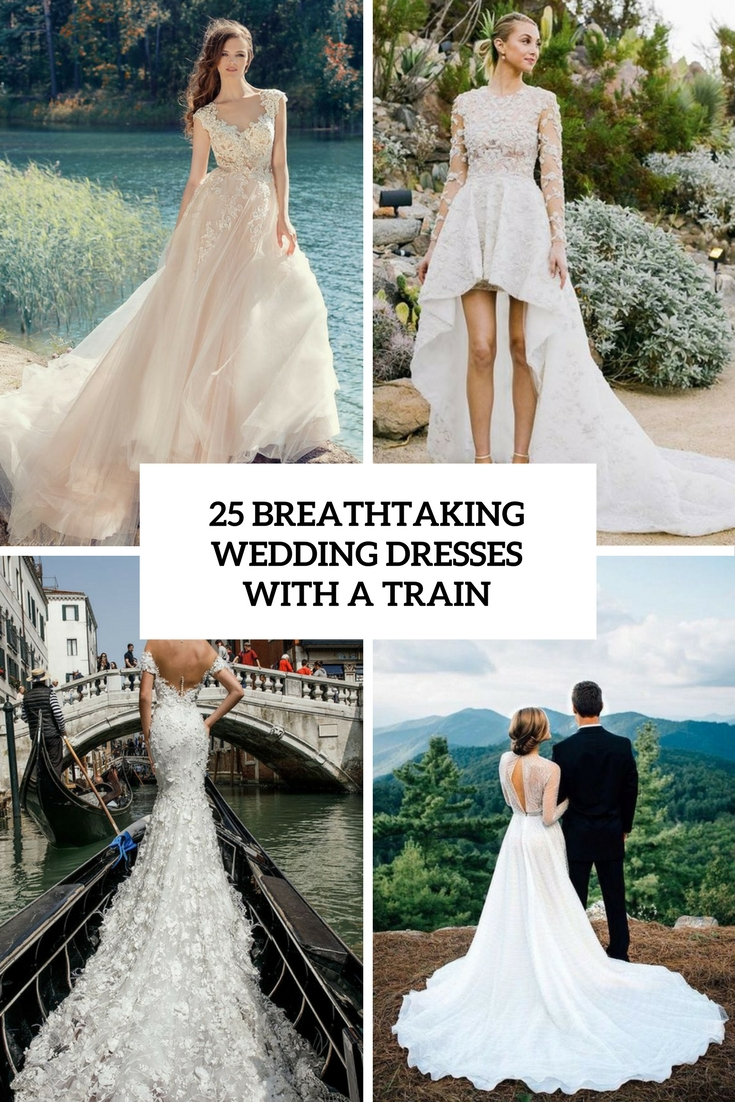 breathtaking wedding dresses with a train cover