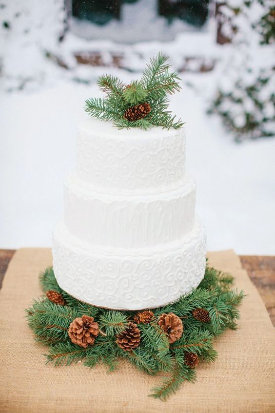 a textural patterned white wedding cake topped with evergreens and a pinecone and displayed on evergreens