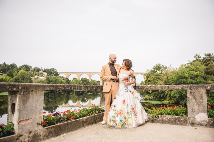 French Fort Wedding With A Floral Custom Dress