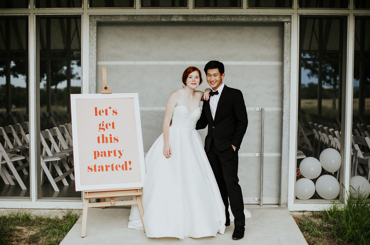 The couple wanted a modern and fun wedding and DIYed a lot for that