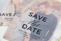 02 a chic save the date with matte paper on top and your personal photo as a couple