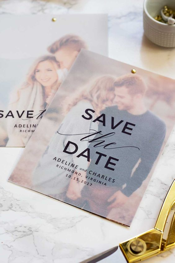 a chic save the date with matte paper on top and your personal photo as a couple