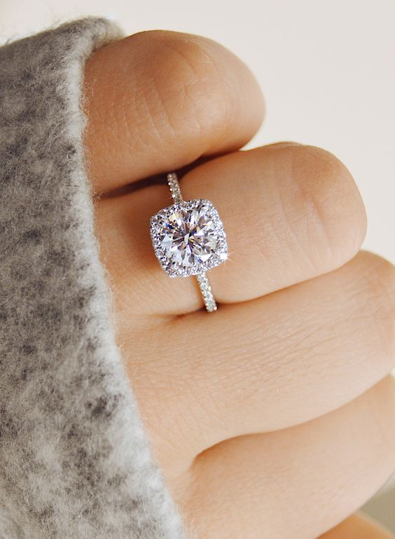 A Delicate Cushion Shaped Halo Diamond Engagement Ring Is Timeless And Chic Solution That Many